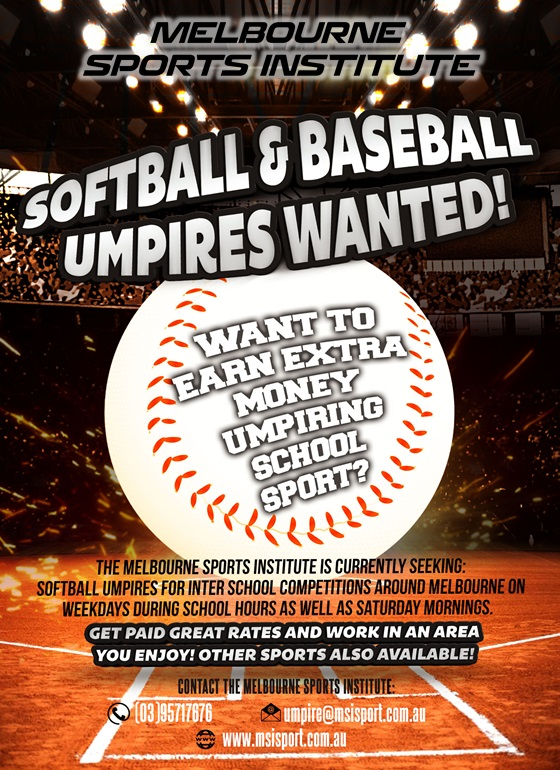 Baseball & Softball coaching and umpiring jobs available!
